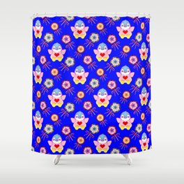 winter baby penguins, retro vintage lollipops, sweet candy holiday pattern. Navy blue nursery design Shower Curtain