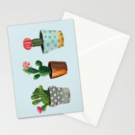 Three Cacti With Flowers On Light Blue Background Stationery Cards