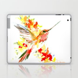 Hummingbird and Flame Colored Flowers, yellow red floral art design Laptop & iPad Skin
