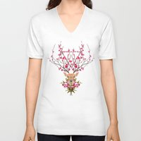 spring V-neck T-shirts featuring Spring Deer by Robert Farkas