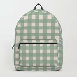 Buffalo Checks Plaid in Sage Green on Cream Backpack