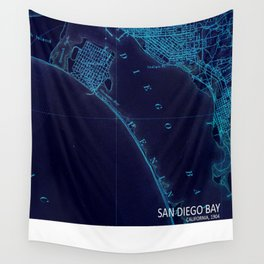 San Diego art map, blue art map Wall Tapestry