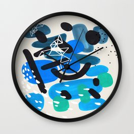 Mid Century Modern Abstract Colorful Art Patterns Teal Blue Turquoise Bubbles Raindrops Geometric Wall Clock