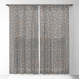 Wild animal print cheetah spots and dots copper rust charcoal gray Sheer Curtain