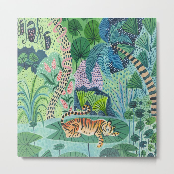 Jungle Tiger Metal PrintSquare Metal Wall decor