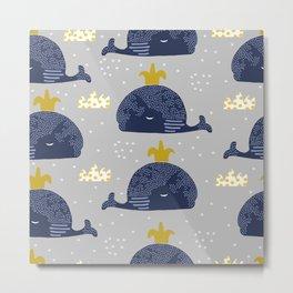 Cute whale Metal Print