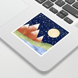 Full Moon In The Mountains Sticker