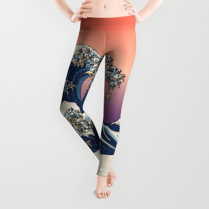 The Great Wave of Pug Leggings