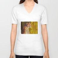cheetah V-neck T-shirts featuring Cheetah by Michelle Behar