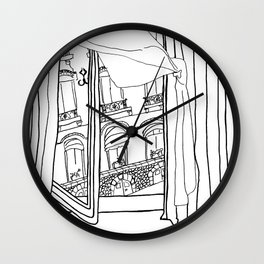 Window View in France  //  ink drawing Wall Clock
