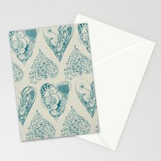 Blue and beige tangled heart pattern Stationery Cards
