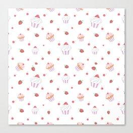 Cute lavender pink strawberries sweet cupcake pattern Canvas Print