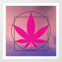 marijuana Art Prints featuring vitruvian marijuana by Emekli Astronot