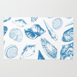 Tropical underwater creatures in blue and white Rug