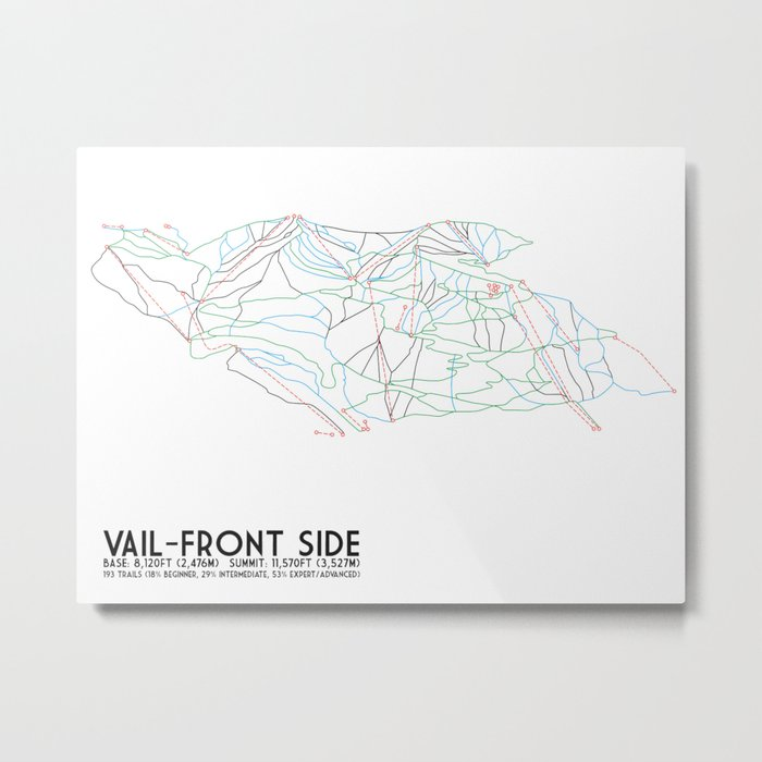 Vail, CO - Front Side - Minimalist Trail Map Metal Print by ...