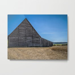 Old wooden barn in the field Metal Print