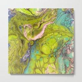 Green Bubbles Metal Print