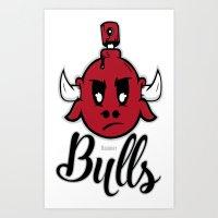 chicago bulls Art Prints featuring bulls by Carlos Lima