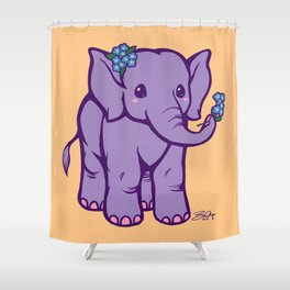 Baby Elephant has Forget Me Nots Shower Curtain