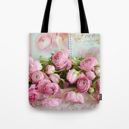 Shabby Chic Cottage Pink Floral Ranunculus Peonies Roses Print Home Decor Tote Bag