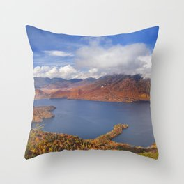 Lake Chuzenji, Japan in autumn from above Throw Pillow