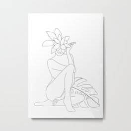 Minimal Line Art Woman with Tropical Leaves Metal Print