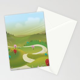 Cartoon hilly landscape Stationery Cards