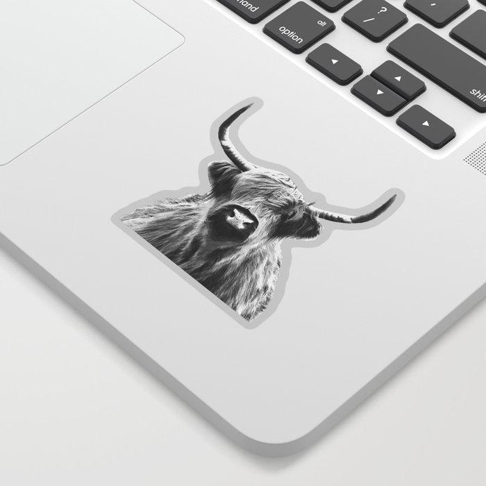 Black and White Highland Cow Portrait Sticker