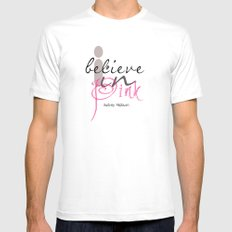 I believe in Pink Audrey Hepburn White MEDIUM Mens Fitted Tee