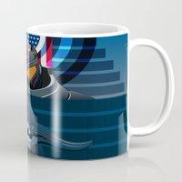 pacific rim Mugs featuring Pacific Rim, Jaws edition by milanova