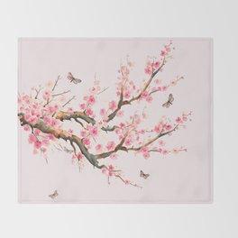Pink Cherry Blossom Dream Throw Blanket