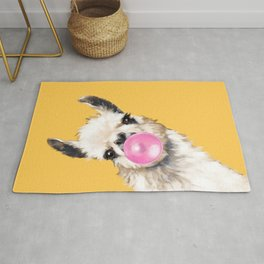 Bubble Gum Sneaky Llama in Yellow Rug