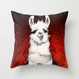 Formal Llama - Red Throw Pillow