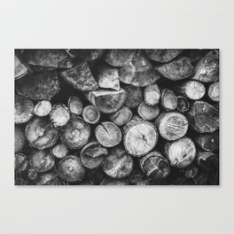 Logs of fire wood | Black and White | Lumber | Nature | By Magda Opoka Canvas Print