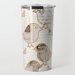 old letter pattern vintage birds art Travel Mug
