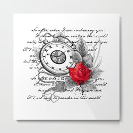 Pocket watch and rose Metal Print