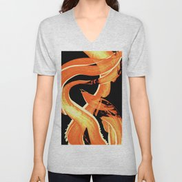 Fire Water 302 By Sharon Cummings - Abstract Orange Yellow Art Unisex V-Neck