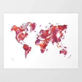 Watercolour World Map (orange/purple/pink) Art Print
