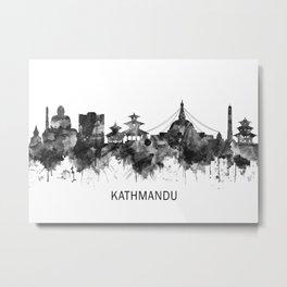Kathmandu Nepal Skyline BW Metal Print