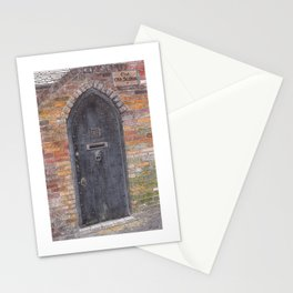 The Old Stables - Black wooden door with lion-head clapper Stationery Cards