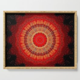 Vibrant Red Gold and black Mandala Serving Tray