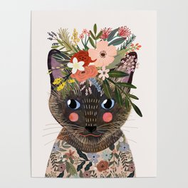 Siamese Cat with Flowers Poster