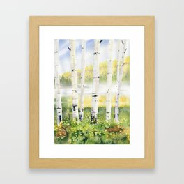 Behind The Birch Trees Framed Art Print