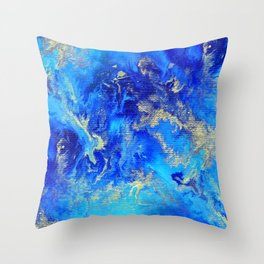 Blue & Gold Abstract II d171011 Throw Pillow