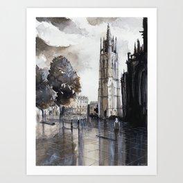 Bordeaux painting watercolor Art Print
