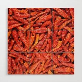 Birds eye chilli peppers background Wood Wall Art