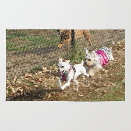 Two dogs running fast Rug