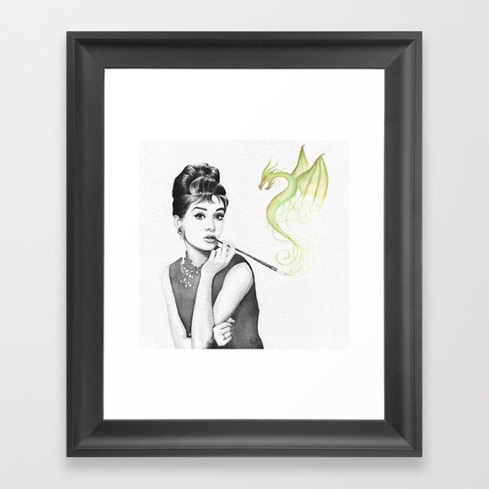 Audrey Hepburn Smoking and Dragon Framed Art Print