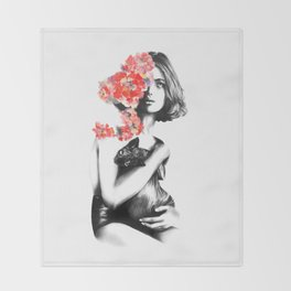 Natalia Vodianova // Fashion Illustration Throw Blanket