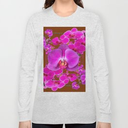 Coffee Brown Color Abstracted Modern Purple Moth Orchids Long Sleeve T-shirt